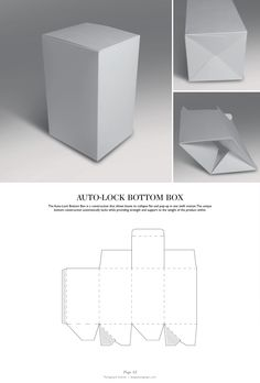 Auto-Lock Bottom Box - Packaging & Dielines: The Designer's Book of… Packaging Nets, Packaging Dielines, Craft Packaging, Paper Packaging, Box Packaging, Packaging Design, Branding Design, Retail Packaging, Diy Gift Box