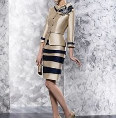 Fashion Mother of the Bride Dress Striped Knee-Length with Jacket Formal Outfits #DressSuit