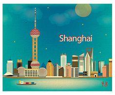 Affiche Shanghai papier tissé, Multicolore - L26