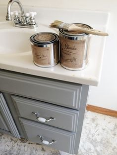 Maison Blanche Vintage Furniture Paint - Franciscan Gray Bathroom Vanity Makeover by @lizmariegalvan