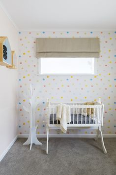 nursery make over for baby girl spotted wallpaper from esprit kids 94134 1 - Blinds For Baby Room