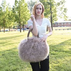£85.00 #ootd #fur #bag #furbag #womenswear #womenfashion #womenstyle #womenoutfit #ladyfashion #ladystyle #ladyoutfit #sheepskin #sheepskinbag #lambskin #lambskinbag #totebag #handmade #accessory #fashionbag Fur Bag, Everyday Bag, Mongolia, Leather Handle, Lace Skirt, Tote Bag, Long Curly, Bags, Beautiful