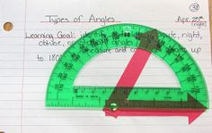Types of Angles math journal to use for practice with a protractor. Runde's Room