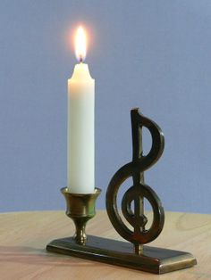 Vintage  Brass Candle Holder  Music Note  MG158 by MasterGreig, $12.00