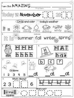 Fall Kindergarten Morning Work FREEBIE  Common Core