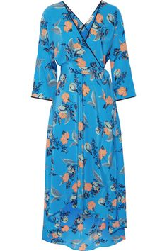 Diane von Furstenberg - Asymmetric Wrap-effect Floral-print Maxi Dress - Blue - medium