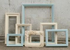 Shabby Chic Picture Frames Set Ivory And French by DanielsVintage, $54.00