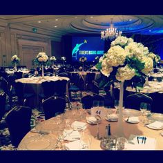 www.petalsbysophie.com Hydrangea Centerpieces for an annual Gala event at the Ritz Carlton, San Francisco.