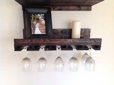 Hand Made Wooden Wine Glass Rack And Shelf