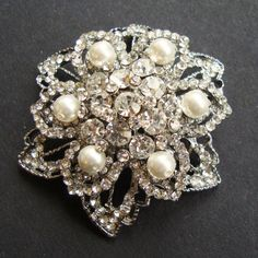 Rhinestone Pearl Flower Brooch, Vintage Bridal Wedding Brooch, ALYCIA Collection