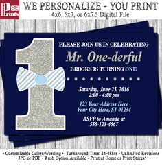 Mr. ONEderful Birthday Invitation - Mr One-derful Tuxedo Birthday Invitations - Navy, Light Blue and Silver First Birthday Invite by PuggyPrints on Etsy
