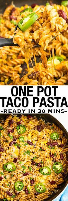 This quick and easy ONE POT TACO PASTA recipe is a great 30 minute meal, requiring simple ingredients. Packed with Mexican flavors, beans, beef and lots of cheese! From cakewhiz.com