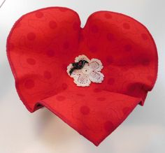 Heart Fabric Bowl by BarbarasArtQuilts on Etsy