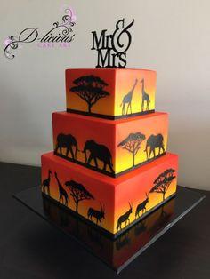 African Animal Themed Wedding Cake - cake by D-licious Cake Art African Wedding Cakes, African Wedding Theme, African Theme, African Wedding Attire, African Weddings, Themed Wedding Cakes, Themed Cakes, Wedding Decor, Wedding Ideas