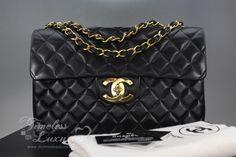 d4c00b6f16071e Timeless Luxuries - CHANEL Black Vintage Jumbo XL/ Maxi Classic Flap Bag  Gold Hw