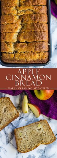 Apple Cinnamon Bread - Incredibly moist and delicious cinnamon-spiced bread studded with juicy apple chunks! Apple Cinnamon Bread, Cinnamon Apples, Apple Bread, Apple Loaf Cake, Cinnamon Desserts, Apple Muffins, Cinnamon Recipes, Apple Desserts, Banana Bread