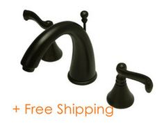 "Kingston Brass Royale Two Handle 8"" to 16"" Widespread Lavatory Faucet with Brass Pop-up Oil Rubbed Bronze KS5975FL"