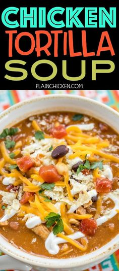 Chicken Tortilla Soup - the secret ingredient makes all the difference! Ready in about 15 minutes. Can also make this in the slow cooker. Freeze leftovers for a quick lunch or dinner later! Leftover Chicken Recipes, Best Chicken Recipes, Soup Recipes, Cooking Recipes, Beef Recipes, Easy Recipes, Dinner Recipes, Healthy Chicken, Chicken Salad