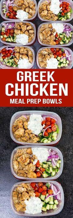 Greek Chicken Meal Prep Bowls: Delicious Marinated Chicken, cucumber salad, and tzatziki