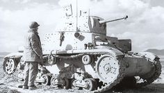An abandoned Italian tank surveyed by an American infantryman in North Africa. North African Campaign, Truck Transport, Italian Army, Afrika Korps, Ww2 Tanks, Tank Design, Military Equipment, American Soldiers, Armored Vehicles