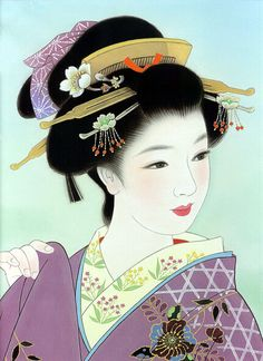 Women's Club: Secrets of the beauty of Japanese geisha. Japanese Drawings, Japanese Prints, Japanese Design, Japanese Kimono, Japanese Artwork, Geisha Kunst, Geisha Art, Art Asiatique, Japanese Painting