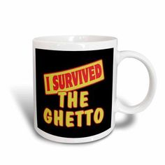 3dRose I Survived The Ghetto Survial Pride And Humor Design, Ceramic Mug, 15-ounce