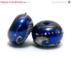 Pair of Cobalt Celestial Rondelle by gracebeads