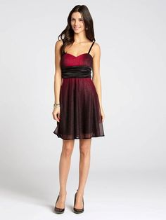 """Laura Petites: for women 5'4"""" and under. A gorgeous mix of red and black will set off your holiday look with the perfect flair. This shimmering dress is boosted by a ruched waist that defines and flatters your figure....4030103-0425"""