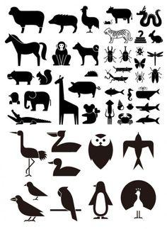 verschillende schets elementen van vector materiaal dierlijke silhouetten elementen