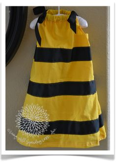 bumblebee pillow case dress- could make for my Honey B to use as a costume