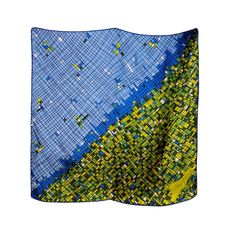 Blue, Green, Chartreuse, & Black Printed Scarf-Schiaparelli | From a collection of rare vintage scarves at http://www.1stdibs.com/fashion/accessories/scarves/