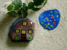 Miniature brick house & pond miniatures for fairy garden kits gift ideas painted rock miniatures by RockArtiste, $45.00