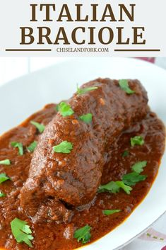 Italian Braciole Recipe – Chisel & Fork This Italian braciole is meat stuffed with cheese that is slow cooked in a tomato sauce for hours and is the perfect Italian comfort food for a cold night. Italian Meats, Italian Dishes, Italian Recipes, Italian Cooking, Healthy Meat Recipes, Cooking Recipes, Veal Recipes, Budget Cooking, Cooking Chef