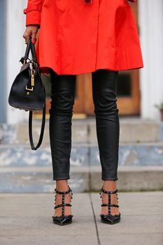 "VIVALUXURY - FASHION BLOG BY ANNABELLE FLEUR: ORANGE FLAIR House of Harlow Chelsea sunglasses | Saint Laurent Classic Cabas Y-Ligne medium leather bag via Gasmy | Cole Haan trench coat - sold out { similar option here } | Current/Elliot ankle skinny leather pants { also here } | Valentino Punkouture rockstud pumps | Essie nail polish in ""Clam Bake"" 
