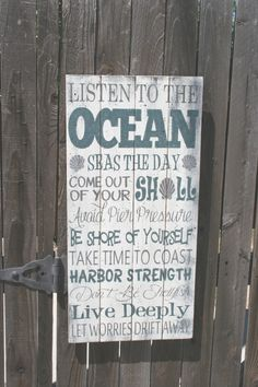 Listen To The Ocean Pallet Sign Beach Sign by RusticlyInspired
