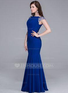 Mermaid Scoop Neck Floor-Length Chiffon Evening Dress With Beading (017025435) - JJsHouse