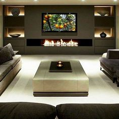 Best Fireplace TV Wall Ideas – The Good Advice For Mounting TV above Fireplace. : Best Fireplace TV Wall Ideas – The Good Advice For Mounting TV above Fireplace – Tv unit designs Home Theater Rooms, Home Theater Seating, Living Room With Fireplace, Fireplace Design, Living Room Diy, Trendy Living Rooms, House Interior, Modern Fireplace, Living Room Tv Wall