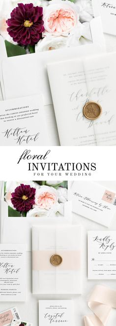 The Charlotte wedding invitation suite is paired with Audrey florals. Audrey features peach garden roses, burgundy dahlias, and white lisianthus.