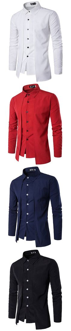 Fake Two Pieces Shirts for Men : Simple Style / Casual Fashion