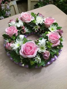 Funeral arrangement With Ribbon - Classic open design funeral wreath available in a choice of colours and sizes. Creative Flower Arrangements, Funeral Flower Arrangements, Vase Arrangements, Beautiful Flower Arrangements, Funeral Flowers, Floral Centerpieces, Beautiful Flowers, Memorial Flowers, Sympathy Flowers