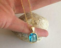 Blue Topaz Quartz necklace - 18K Gold Fill - December Birthstone jewellery- Throat Chakra jewelry Gift