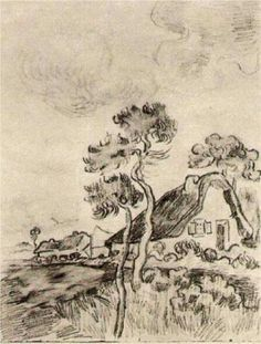 Vincent van Gogh: Cottages and Trees Saint-Rémy: March-April, 1890 (Caracas, Collection Ernesto Blohm) Van Gogh Drawings, Van Gogh Paintings, Pencil Drawings, Vincent Van Gogh, Dutch Artists, Famous Artists, Desenhos Van Gogh, Van Gogh Arte, Van Gogh Pinturas