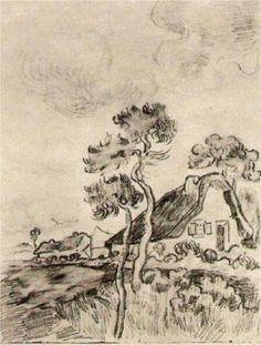 Vincent van Gogh: Cottages and Trees Saint-Rémy: March-April, 1890 (Caracas, Collection Ernesto Blohm) Vincent Van Gogh, Van Gogh Drawings, Van Gogh Paintings, Desenhos Van Gogh, Van Gogh Arte, Van Gogh Pinturas, Artist Van Gogh, Tree Sketches, Art Van