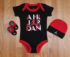 Air Jordan Jumpman Baby Boy 3 Piece Set ~ Black, Red & White ~ 0-6 Months ~ #Jordan #Jumpman
