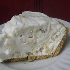 This pie has cool whip, crushed pineapple, sweetened condensed milk, lemon juice....oh my!