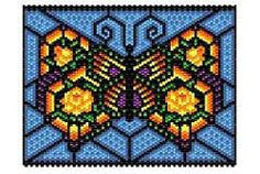 """Rose Butterfly """"stained glass"""" Panel"""