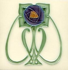 Art Tile, Art Nouveau Flower, Dark Blue, Gold, and Green on Cream