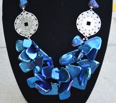 Royal Blue Electroplated Freeform Agate and Druzy Bib by MMonili
