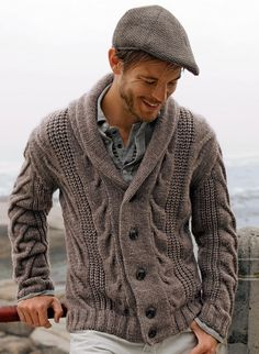 Cat. 12/13 - 574 Shawl collar jacket Pattern Library.  Free pattern on http://www.bergeredefrance.com/