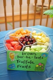 this card goes with the baby carriage fruit bowl for centerpiece